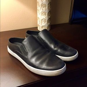 Vince Black Leather Slip-ons